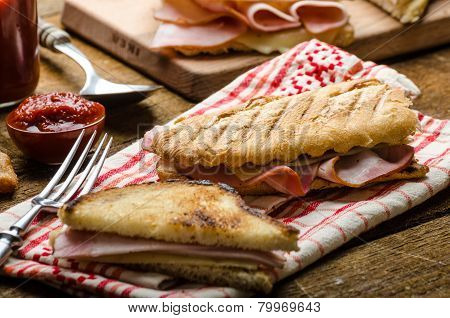 Quick dinner toast with ham and cheese - panini english toast french with butter dessert delicious churros poster