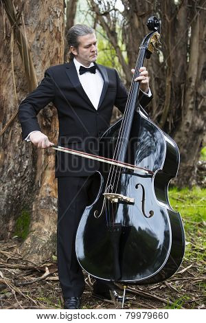 Man Playing The Double Bass In Park