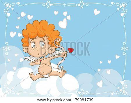 Cupid Shooting Love Arrows Vector Cartoon