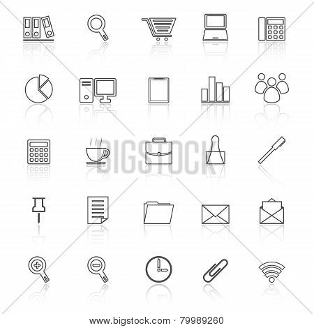 Office Line Icon Reflect On White Background