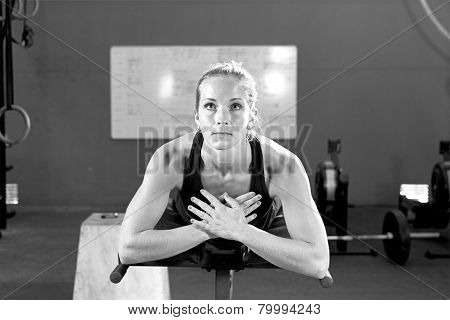 Young Woman At The Abdominal Crunch Machine - Workout.