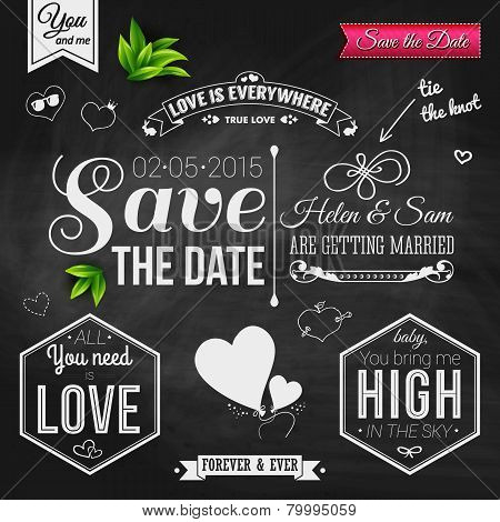 Save the date for personal holiday. Wedding invitation on chalkb