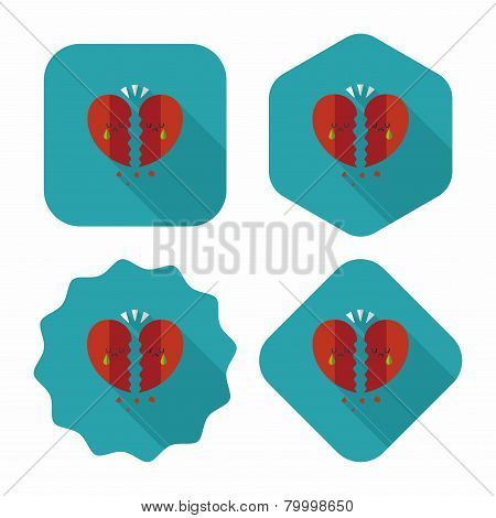 Valentine's Day Broken Heart Flat Icon With Long Shadow