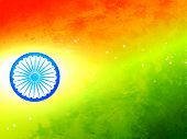 vector flag of India made in tricolor texture and wheel with glow effect  poster