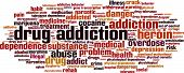 Drug addiction word cloud concept. Vector illustration isolated on white poster