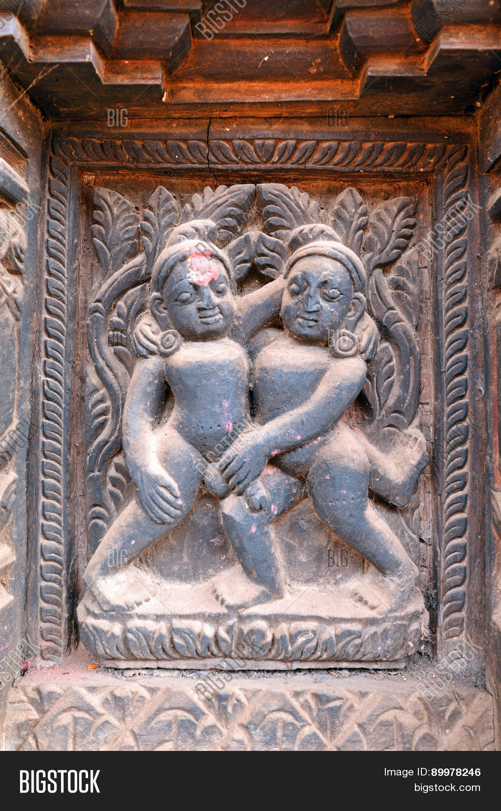 Erotic wood carving art