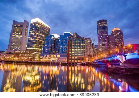 Boston Harbor And Financial District At Twilight In Boston