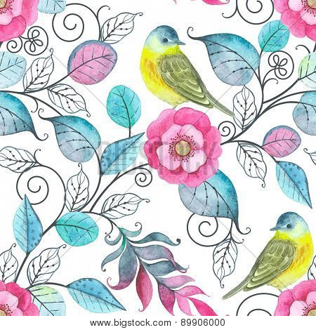 Watercolor seamless pattern with birds, flowers and leaves, abstract illustration in vintage style.