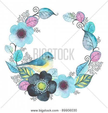 Watercolor wreath with abstraction flowers, leaves and bird Red-flanked bluetail.