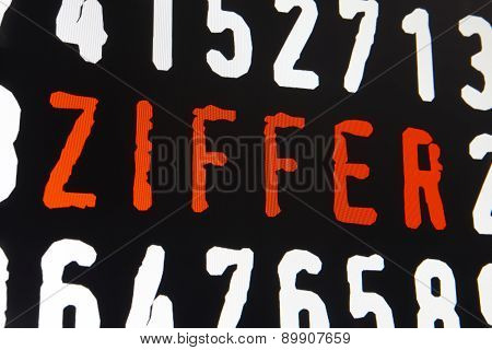 Computer Screen With Ziffer Text On Black Background