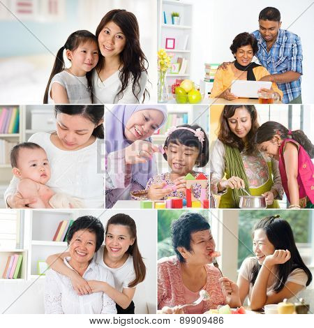 Collage photo mothers day concept. Family generations having fun indoors living lifestyle. All photos belong to me.