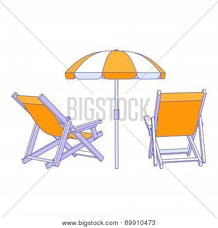 Vector yellow deck chairs under beach umbrella