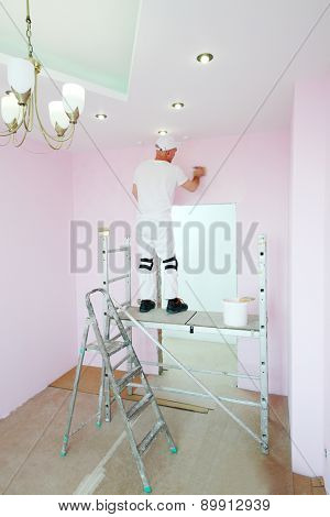 Finisher with brush in hand standing on scaffolding in pink room