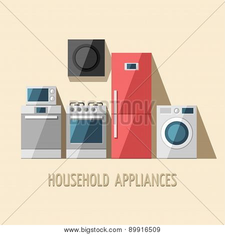 Set of household appliances. Home appliances. Kitchen equipment. Vector flat illustration. poster