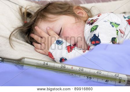 Mercury Thermometer And A Little Sick Girl