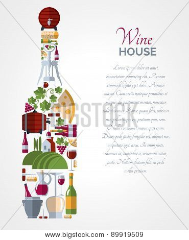Wine bottle icons compositions poster