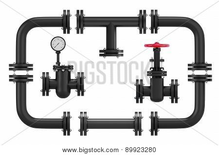 3d pipeline elements isolated on white background. poster