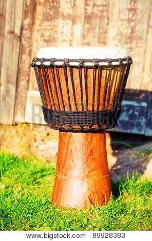 Original African Djembe Drum With Leather Lamina, On Green In Sun Light