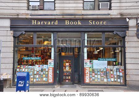 BOSTON - AUG 13, 2011: The facade of Harvard Book Store near Harvard University in Cambridge, Boston, Massachusetts, USA