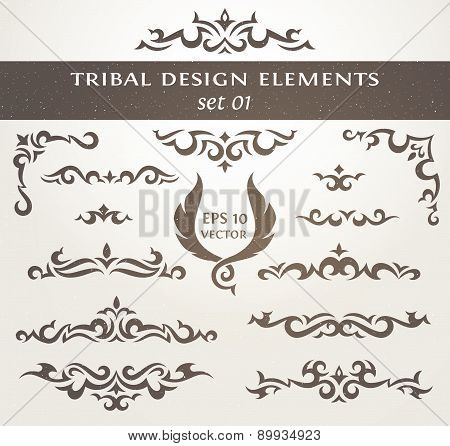 Design elements in tribal style. Collection of Decorative borders.