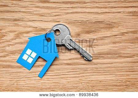 Silver Key With Blue House Figure
