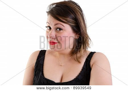 Sceptical woman with raised eyebrows looking sideways at the camera with a quizzical expression showing her incredulity and distrust isolated on white poster