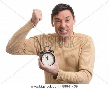 Yelling Man With Alarm Clock In Hand