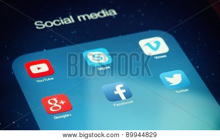 Social Media Icons On Digital Tablet.