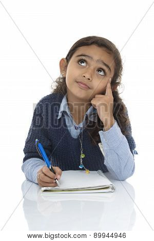 Young Girl Thinking For Answer
