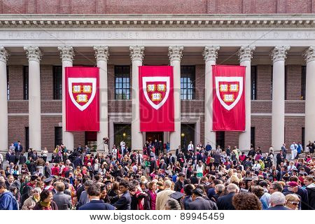 Students Of Harvard University Gather For Their Graduation Ceremonies On Commencement Day
