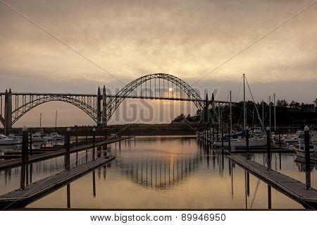 Newport, Oregon bridge at sunset.