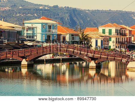 Lefkada town in Greece