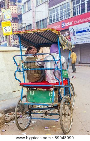 Rickshaw Rider Waits For Passengers