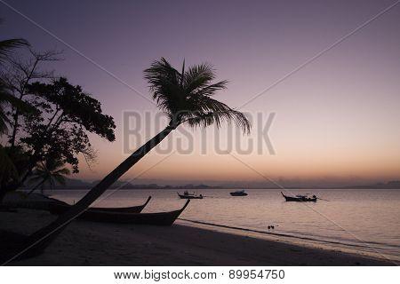 paradise island on sunrise at Koh Muk, Thailand poster