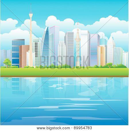 City Skyline with Green