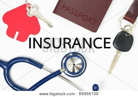Insurance Concept With Many Types Of Insurance