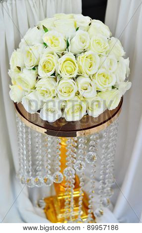 Wedding bouquet, white roses