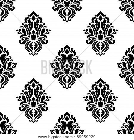 Decorative damask floral seamless pattern
