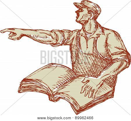 Drawing illustration of a protester activist unionist union worker with book pointing to the side set on isolated white background. poster