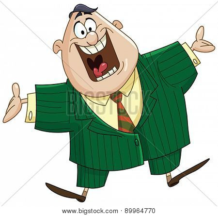 Happy business man showing welcome gesture