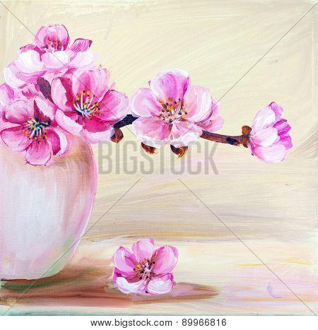 Sakura flowers in vase. Oil painting