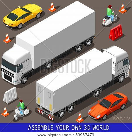 Isometric Flat 3D Vehicle Vespa Truck Set