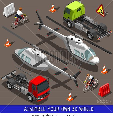 Isometric Flat 3D Vehicle Aid Carrier Ride Set