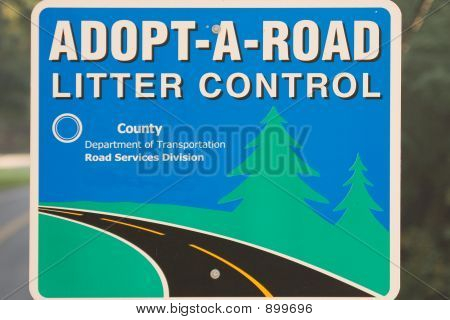 Adopt A Road Litter Control Sign