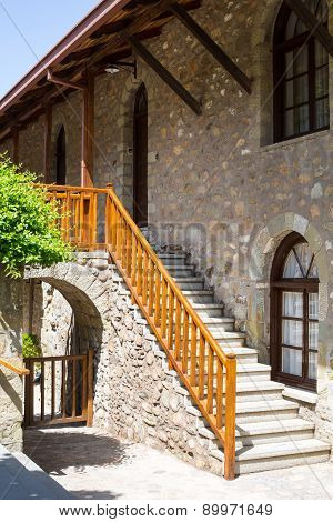 Staircase At Agios Stefanos St Stefan Monastery On Meteora Cliff, Greece