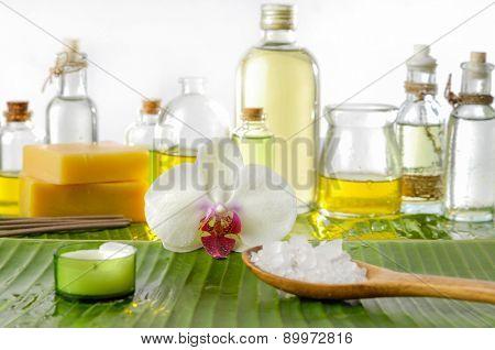 Spa set on banana leaf with spa oil