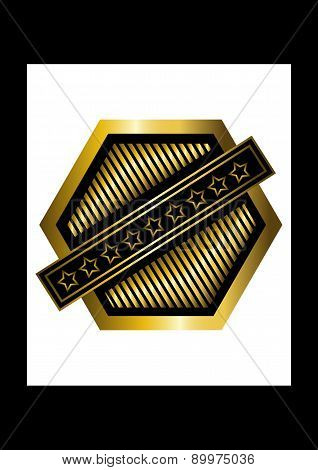 Gold rhomboid icon quality mark with an asterisks