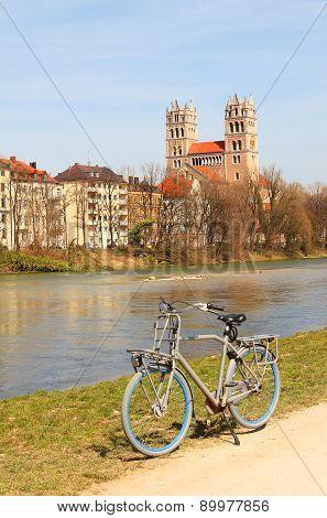 Cycling Along The Riverside Of Isar River, Munich