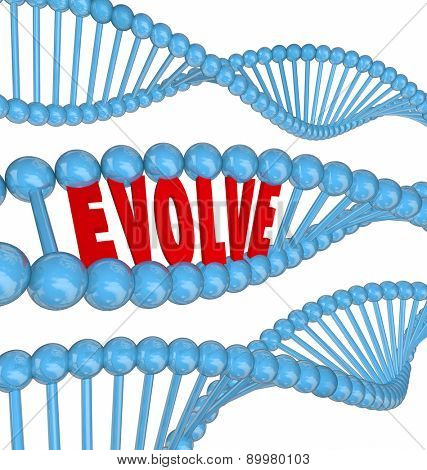 Enhance word in 3d letters in a DNA strand to illustrate growth, enhancement, innovation, progress and improvement