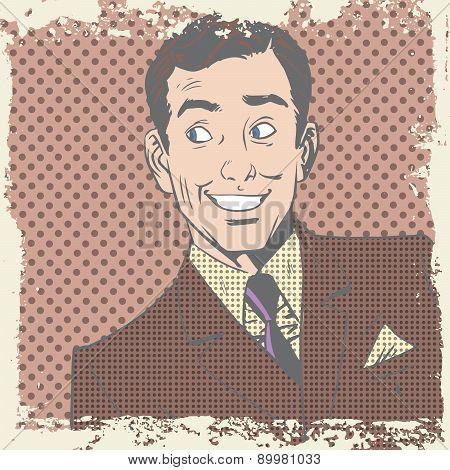 Smiling man lover flirts pop art comics retro style Halftone